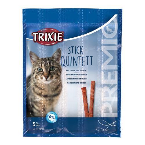 Ласощі для котів Trixie PREMIO Quadro-Sticks 5 шт. (лосось та форель)