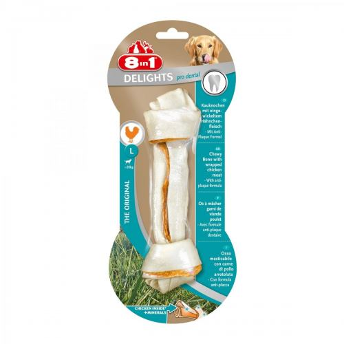 Лакомство для собак 8in1 Delights Кость для чистки зубов с курицей Pro Dental 20 см