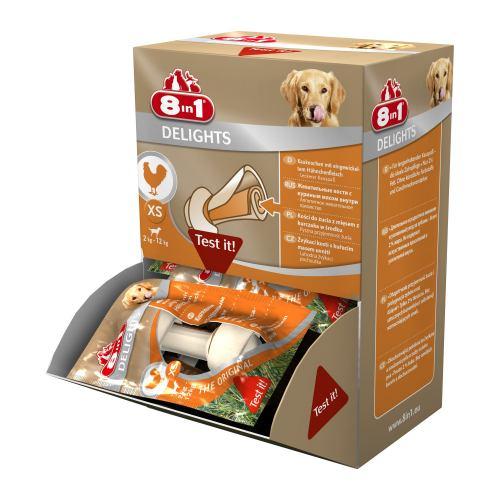 Ласощі для собак 8in1 Delights Кістка пресована з куркою 7 см (30 шт.)