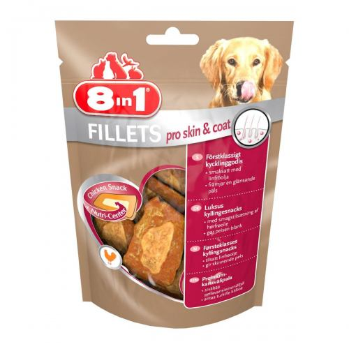 Лакомство для собак 8in1 Fillets Куриное филе 80 г (для кожи и шерсти)