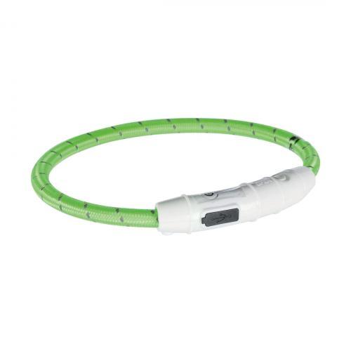 Ошейник Trixie полиуретановый светящийся USB «Flash» M-L 45 cм / 7 мм (зелёный)
