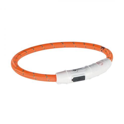 Ошейник Trixie полиуретановый светящийся USB «Flash» L-XL 65 cм / 7 мм (оранжевый)
