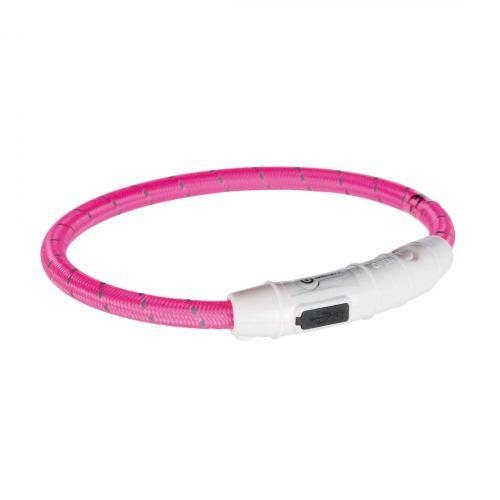 Ошейник Trixie полиуретановый светящийся USB «Flash» L-XL 65 cм / 7 мм (розовий)