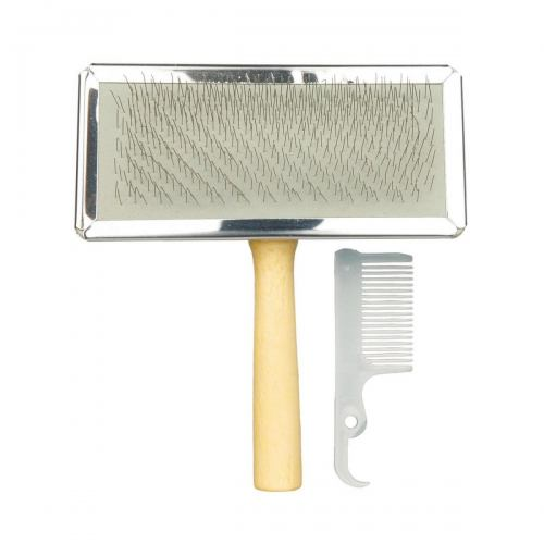 Щётка-пуходёрка с деревянной ручкой и пластиковая расчёска Trixie 11 см / 14 см, набор