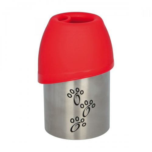 Бутылка дорожная Trixie с миской 300 мл (красная, чёрная)
