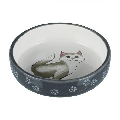 Миска керамічна Trixie для короткомордих порід котів 300 мл / 15 см (сіра)