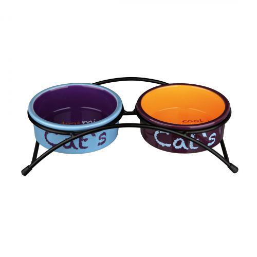 Миски керамічні на підставці Trixie «Eat on Feet» 2 x 300 мл / 12 см (різнокольорові)