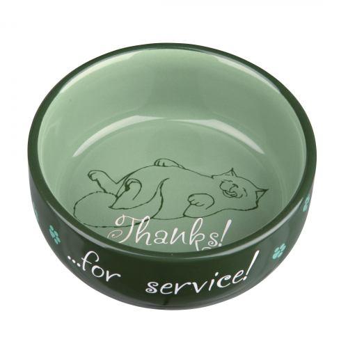Миска керамическая Trixie «Thanks for Service» 300 мл / 11 см (зелёная, коричневая, фиолетовая, кремовая)