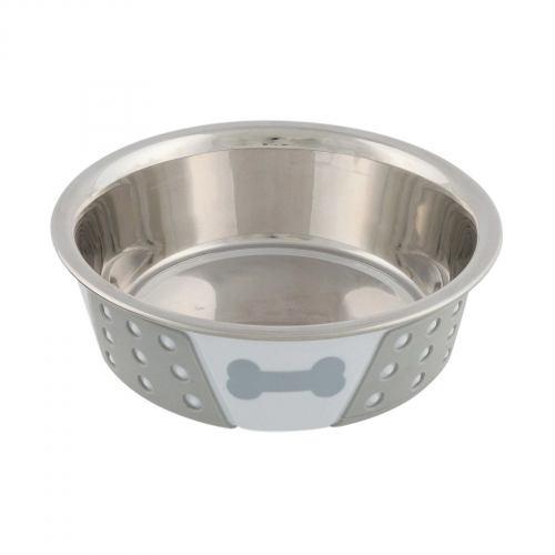 Миска металева Trixie на гумовій основі 400 мл / 14 см (сіра)