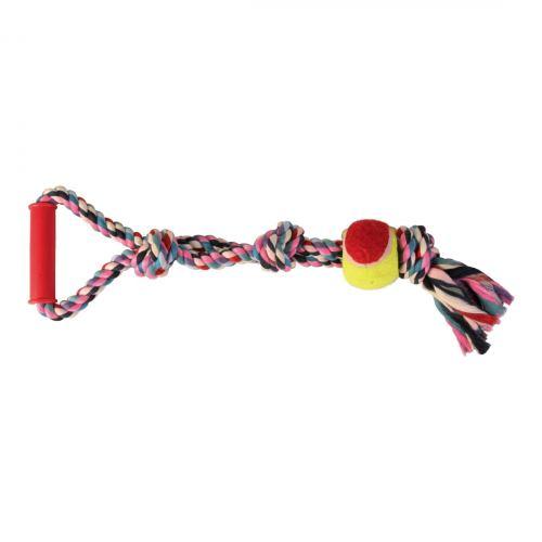 Игрушка для собак Trixie Канат плетёный с ручкой и мячём 50 см, d:6 см (текстиль, цвета в ассортименте)