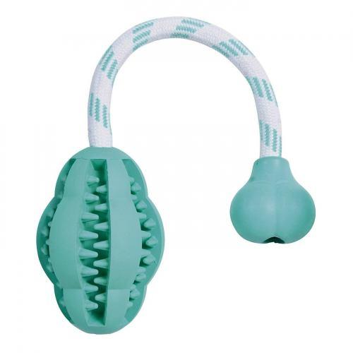 Игрушка для собак Trixie Мяч на верёвке с ручкой «Denta Fun» 28 см, 8 см (резина)