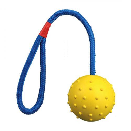 Игрушка для собак Trixie Мяч на верёвке с ручкой 30 см, d:6 см (резина, цвета в ассортименте)