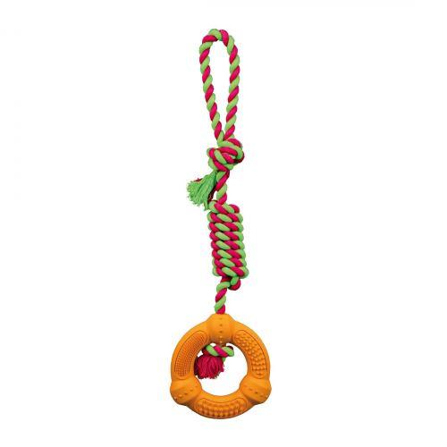 Игрушка для собак Trixie Кольцо на верёвке с ручкой 41 см, d:12 см (резина, цвета в ассортименте)