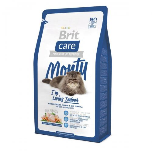 Сухой корм для кошек, живущих в помещении Brit Care Cat Monty I am Living Indoor 2 кг (курица и рис)