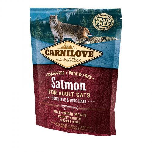 Сухой корм для кошек с чувствительным пищеварением Carnilove Cat Salmon - Sensitive & Long Hair 400 г (лосось)