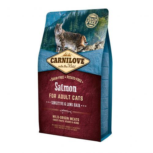 Сухой корм для кошек с чувствительным пищеварением Carnilove Cat Salmon - Sensitive & Long Hair 2 кг (лосось)