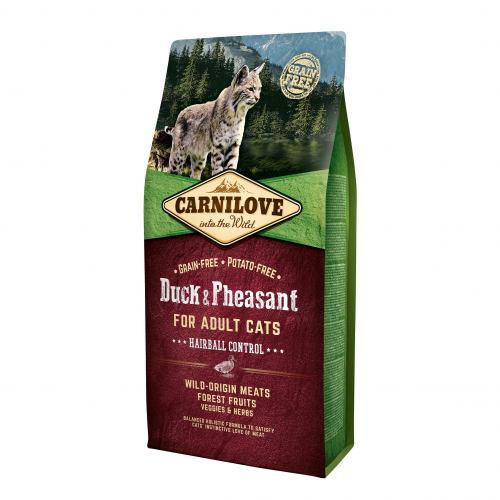 Сухий корм для виведення шерсті у котів Carnilove Cat Duck & Pheasant - Hairball Controll 6 кг (качка та фазан)
