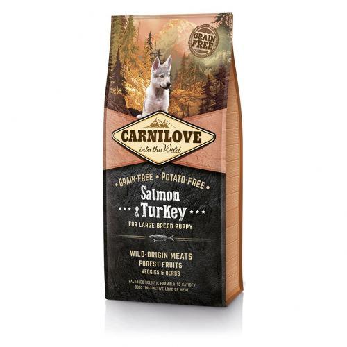 Сухий корм для цуценят та молодих собак великих порід (вагою від 25 кг) Carnilove Salmon & Turkey Large Breed Puppy 12 кг (лосось та індичка)