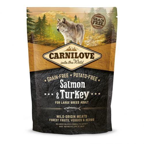 Сухой корм для взрослых собак крупных пород (весом от 25 кг) Carnilove Salmon & Turkey Large Breed 1,5 кг (лосось и индейка)