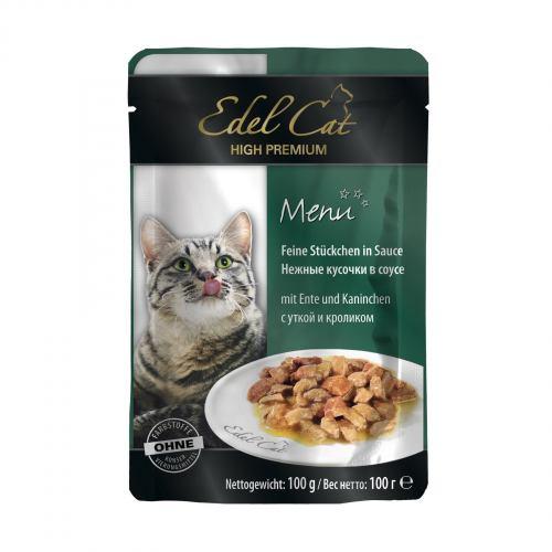 Вологий корм для котів Edel Cat pouch 100 г (качка та кролик в соусі)