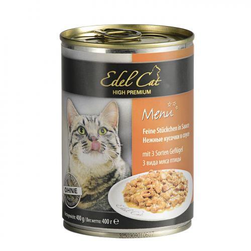 Влажный корм для кошек Edel Cat 400 г (три вида с мясом в соусе)