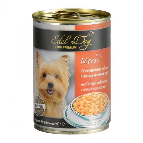 Вологий корм для собак Edel Dog 400 г (птах та морква в соусі)